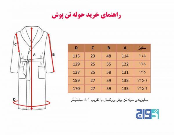 راهنمای انتخاب سایزبندی حوله تن پوش