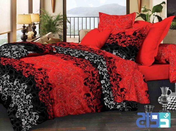 سرویس لحاف و روتختی مناسب با تخت های بزرگ دونفره رنگ قرمز